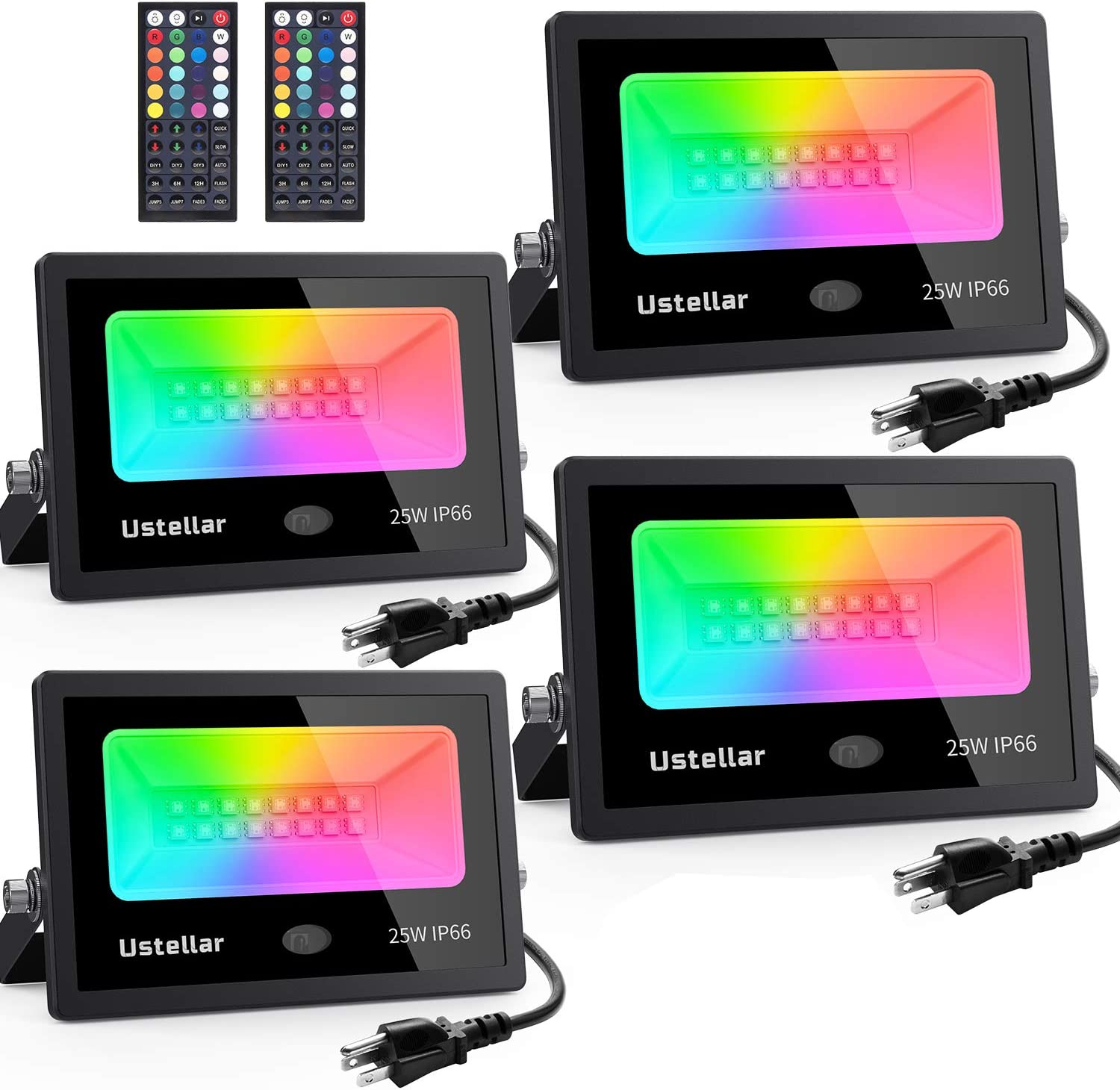 Ustellar 4 Pack 25W RGB LED Flood Lights Color Changing Indoor Outdoor Floodlights Dimmable Party Uplighting Landscape led Wall Wash Halloween Christmas Decoration Uplight Spotlight Stage Lighting