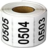 "Consecutive Number Labels Self Adhesive Stickers ""0501 to 1000"" (White Black / 1.5 x 1 Inch) - 500 Labels Per Pack"