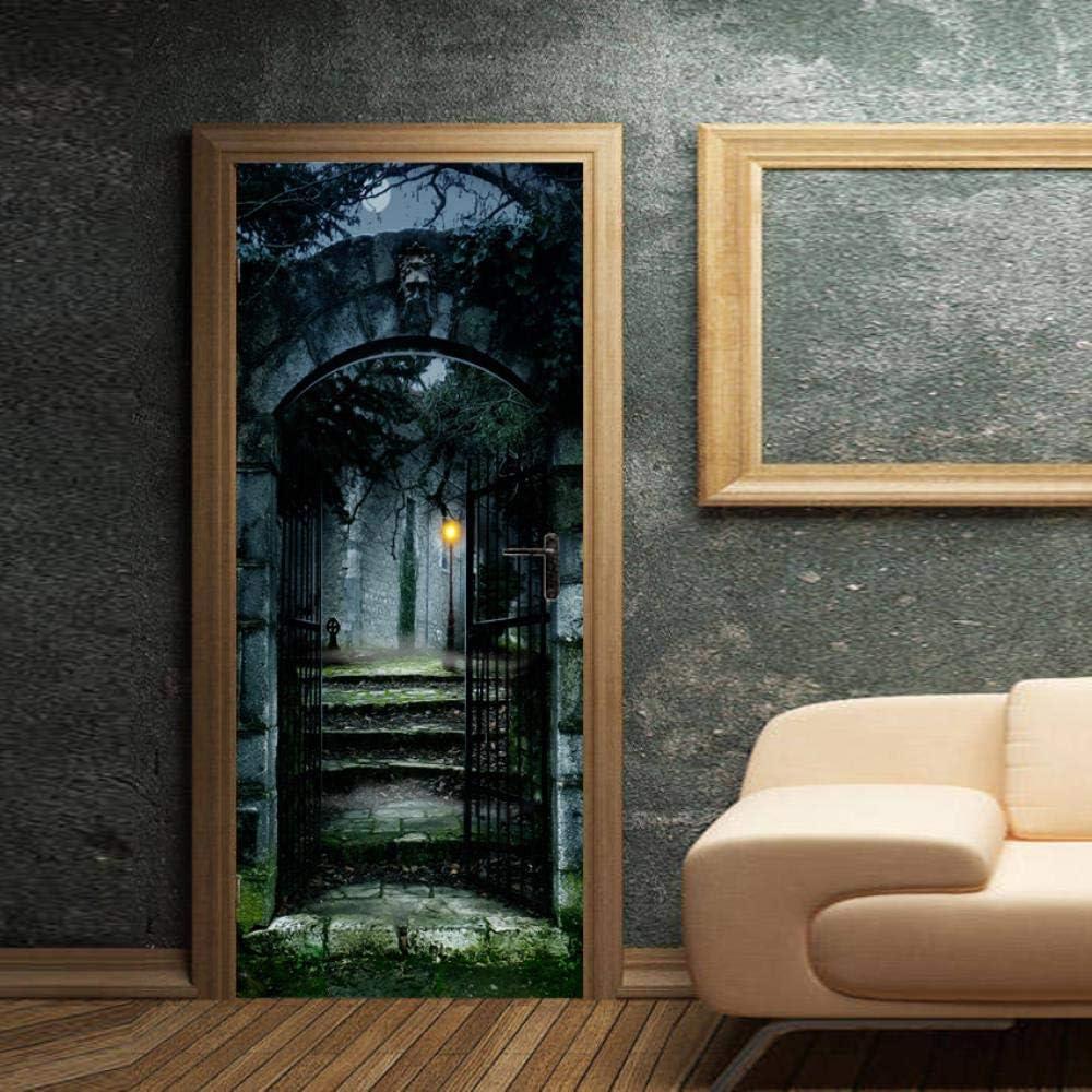 3D pegatinas de puerta Finca de terror 95X215CM Arte regalo PVC visual calcomanía decoración autoadhesivo paisaje bricolaje tridimensional mural etiqueta de la pared: Amazon.es: Bricolaje y herramientas