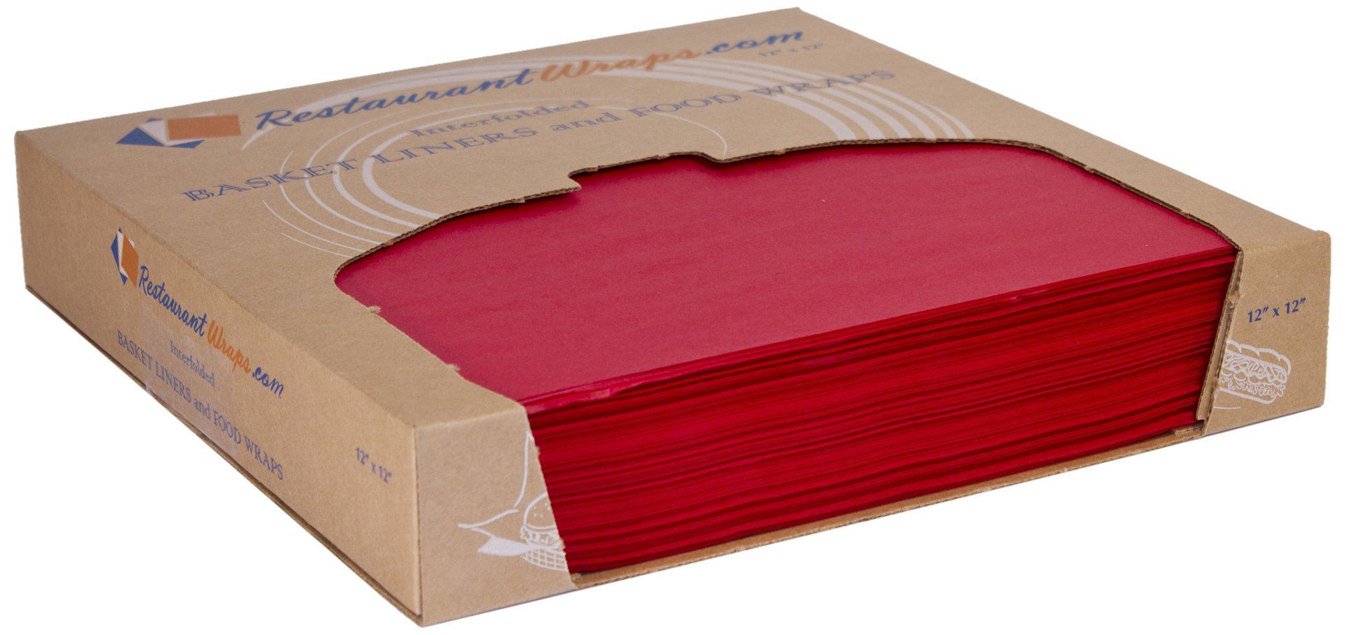 RestaurantWraps.com Waxed Sheets, Basket Liner and Food Wrap, 12'' x 12'', Cherry (6 Packs of 1000 Sheets)