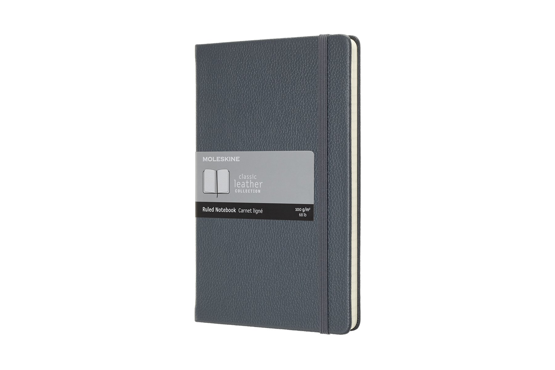 Moleskine Classic Hard Cover Leather Notebook, Ruled, Large.