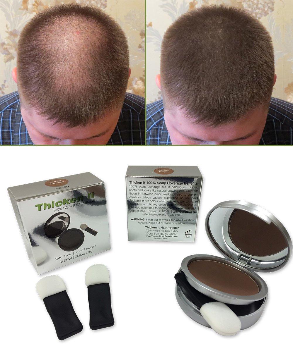 Amazon.com : Thicken It 100% Scalp Coverage: Medium Brown : Hair ...