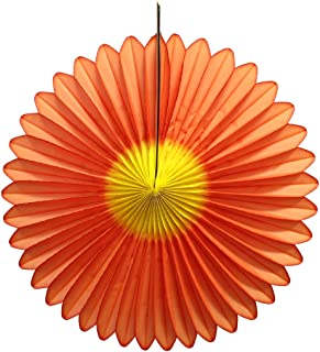 product image for Devra Party 3-Pack 20 Inch Honeycomb Tissue Paper Daisy Fan (Orange/Yellow)