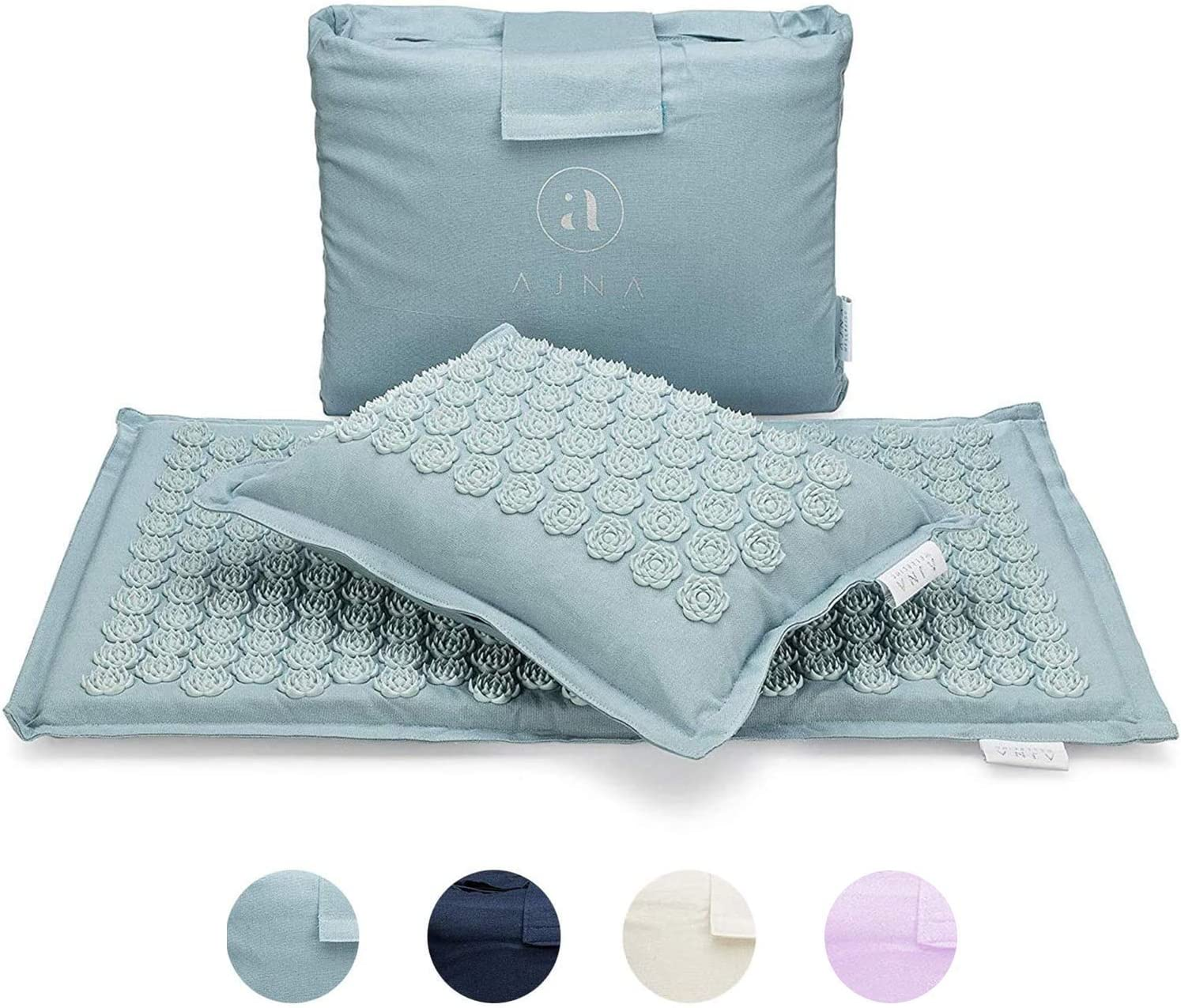 Ajna Acupressure Mat and Pillow Set - Ideal for Back Pain Relief and Neck Pain Relief - Advanced Stress Reliever - Muscle Relaxant - Free Tote Bag - Eco Lite (Sky Blue): Sports & Outdoors
