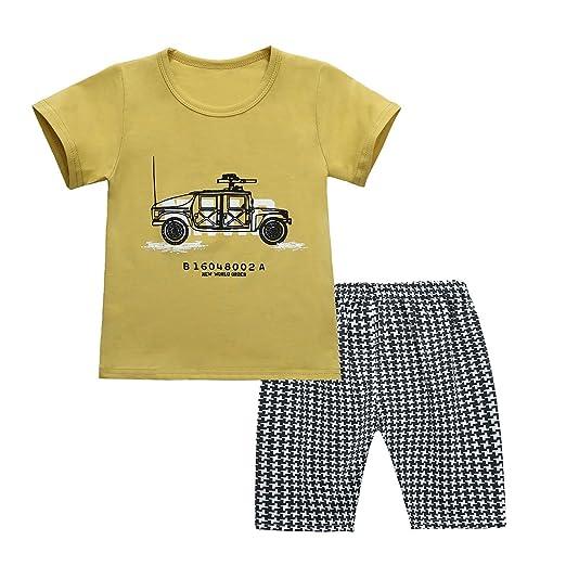 be716fe3ae3c ChicNChic Baby Girls Boys Outfits Car T-Shirt + Black Plaid Shorts Summer  2pcs Set