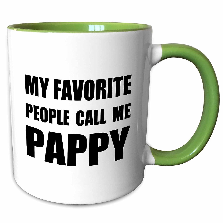 3dRose 232517_7 My Favorite People Call Me Pappy-Fun Black Text Ceramic Mug, Green/White mug_232517_7