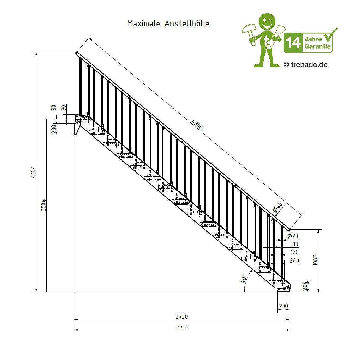 15 Stufen ST3 Trebado Au/ßentreppe Breite 120cm Gel/änder beidseitig