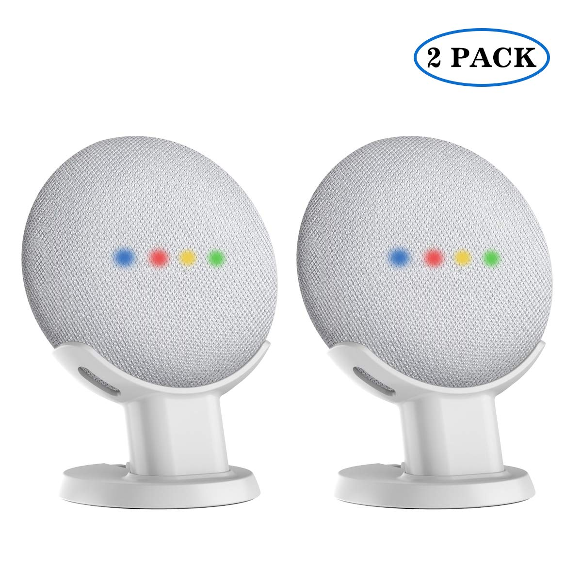 SPORTLINK Pedestal for Nest Mini (2nd Gen) and Google Home Mini Improves Sound Visibility and Appearance - A Must Have Mount Holder Stand for Nest Mini (2nd Gen)/ Google Mini (white-2pack)