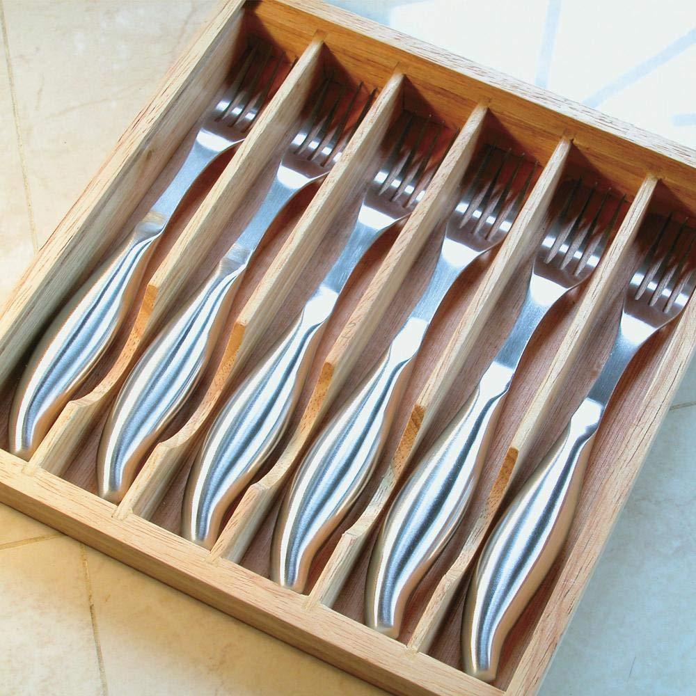 Jean-Patrique Bistecca in acciaio inox forcella 6 pezzi Set di 6 pezzi Professional Kitchen Dinnerware stoviglie Piatti Posate Set di posate con vassoio di legno