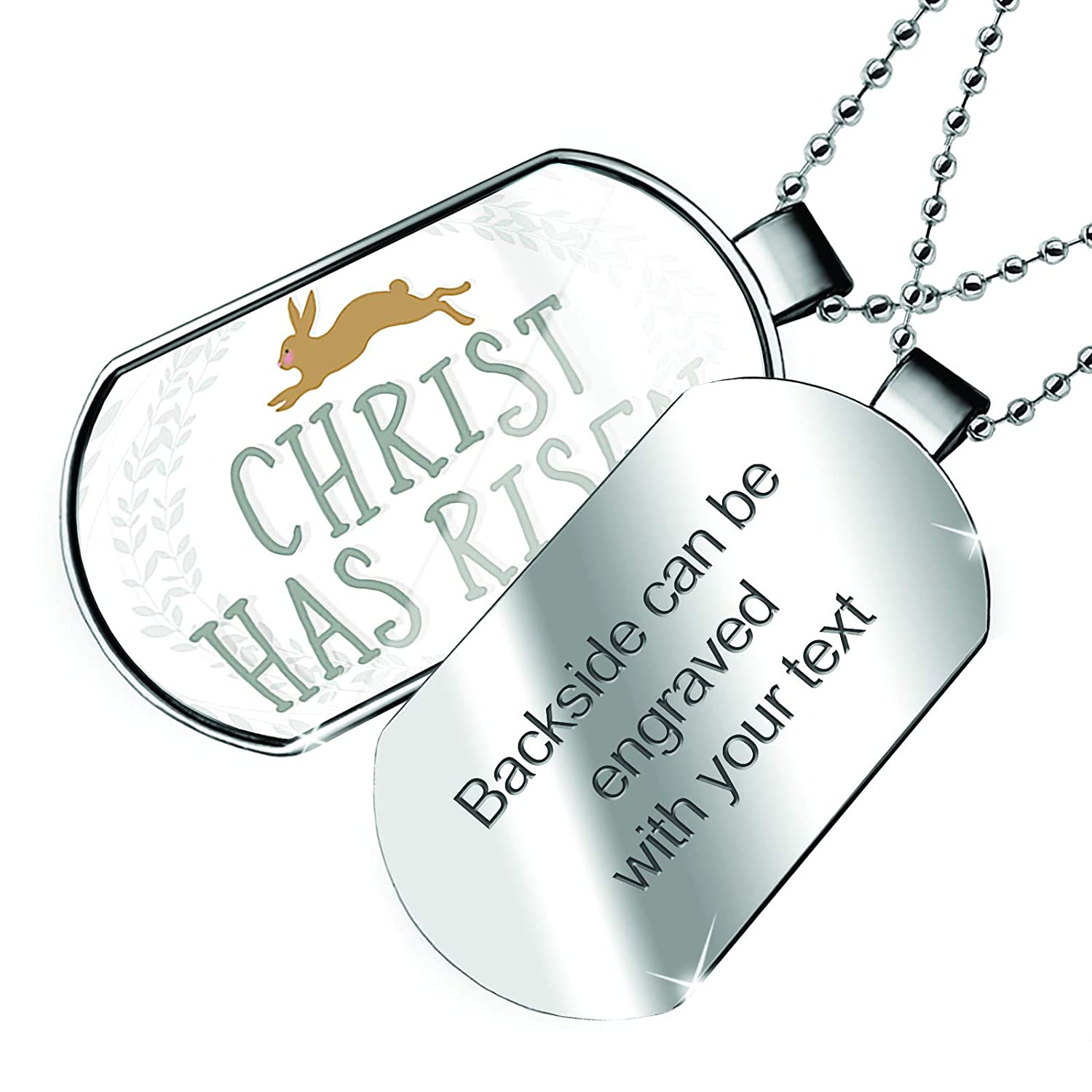 NEONBLOND Personalized Name Engraved Christ Has Risen Easter Rabbit Dogtag Necklace