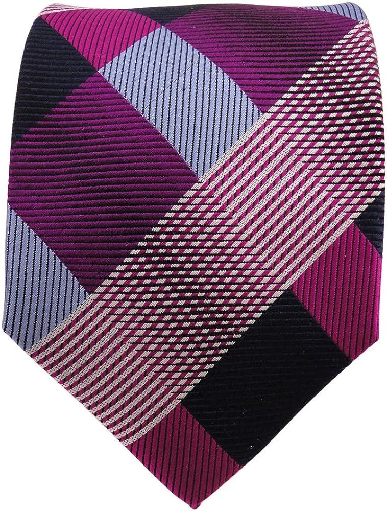TigerTie diseñador corbata de seda - morado violeta azul a cuadros ...