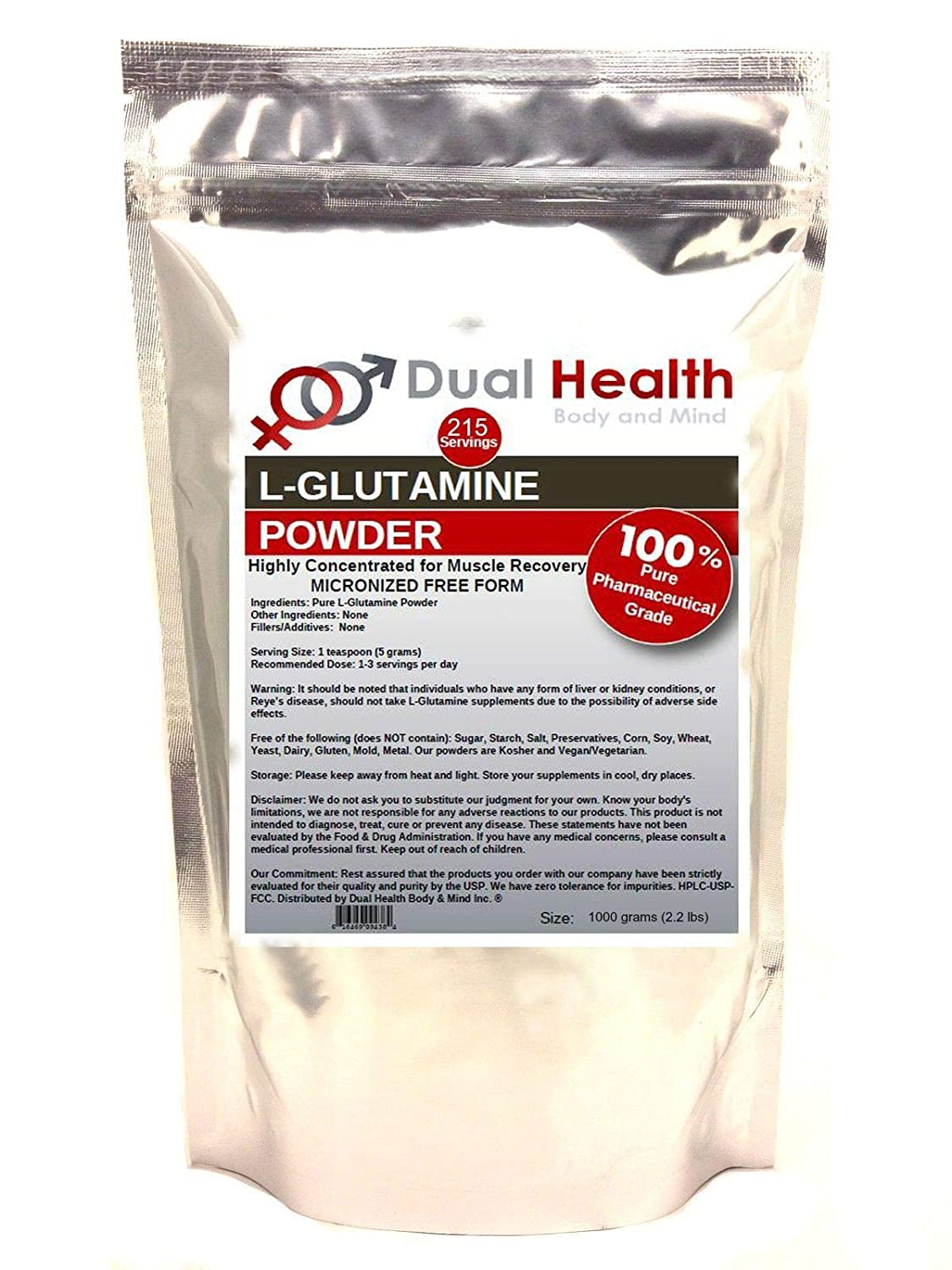 Pure L-Glutamine 5000mg Powder 1000 grams 2.2 lbs Bulk Supplements