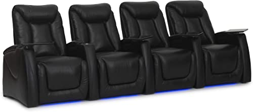 HT Design Somerset Home Theater Seating Row of 4 Power Recline Top Grain Black Leather LED Package