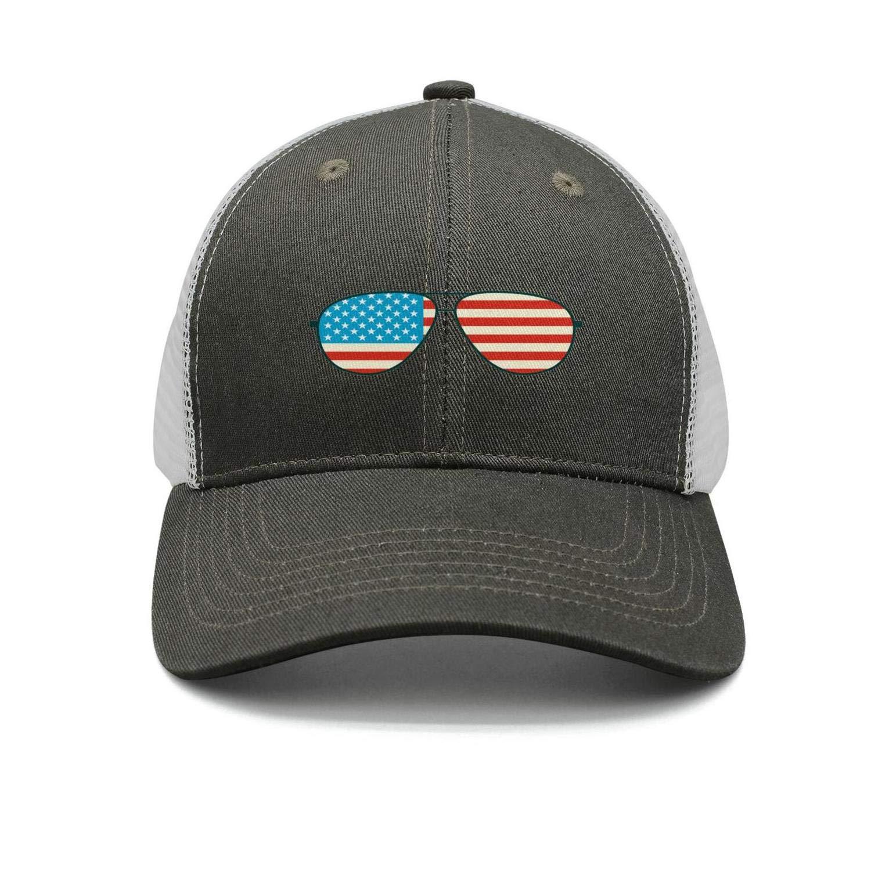 Mini American Flags Glasses Trucker Cap Men//Women Classic Sports Hats