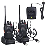 Neoteck Walkie Talkies 2 PCS Walkie Talkie Long Range 16 Channel 2 Way Radio UHF 400-470MHz Walky Talky Rechargeable with USB Charger Original Earpieces for Field Survival Biking Hiking