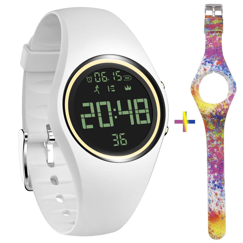 feifuns Fitness Tracker Smart Watch Non-Bluetooth Pedometer Bracelet Smart Sport Bracelet with Timer Step Calories Counter Distance Time/Date Vibration Alarm for Walking Kids Women Men (White+Band)
