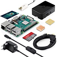 ABOX Raspberry Pi 3 Modèle B Plus (3 B+) Starter Kit [ 2018 Version Dernière ] 32 Go Classe 10 SanDisk Micro SD Carte, 5V 3A Alimentation Interrupteur Marche/Arrêt Boîtier Noir