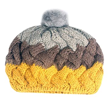2727a299668 Amazon.com  Fheaven Winter Warm Hats Women Cable Knitted Beret Hat Hood  Beanies for Autumn Winter (B)  Beauty