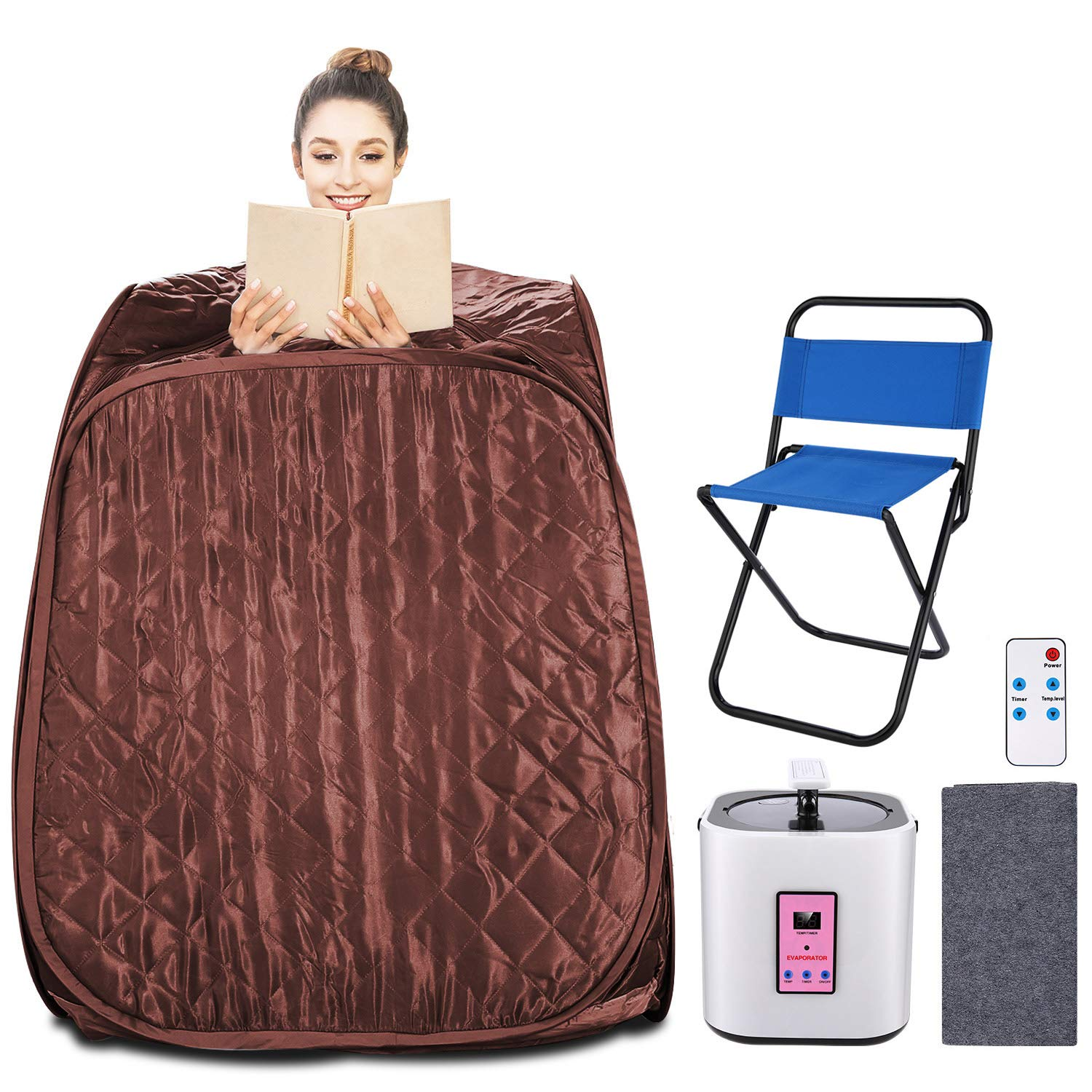 Aceshin Portable Steam Sauna Home Spa, 2L Personal Therapeutic Sauna Weight Loss Slimming Detox with Foldable Chair, Remote Control, Timer Coffee