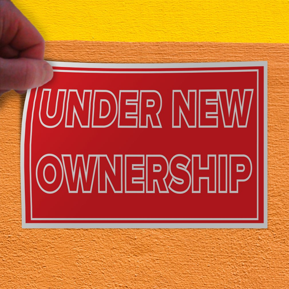 Decal Sticker Multiple Sizes Under New Ownership #1 Style G Business Under New Ownership Outdoor Store Sign Red 52inx34in Set of 2