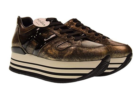 Hogan Scarpe S0neakers Running da Donna Maxi Platform H222 Nero Oro Casual  Sportive HXW2830T548JD81805  MainApps  Amazon.it  Scarpe e borse ed524bad3d5