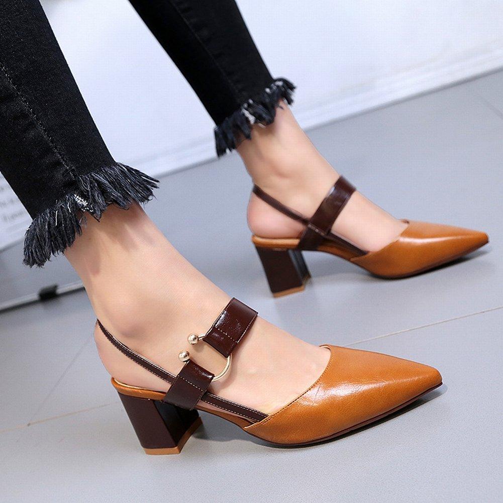 YTTY Einzelnen Schuhen Baotou Sandalen Weiblichen Spitzen High Heels Hohlen Schuhe  39|Gelb