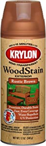 Krylon K03603000 Exterior Semi-Transparent Wood Stain, Rustic Brown, 12 Ounce