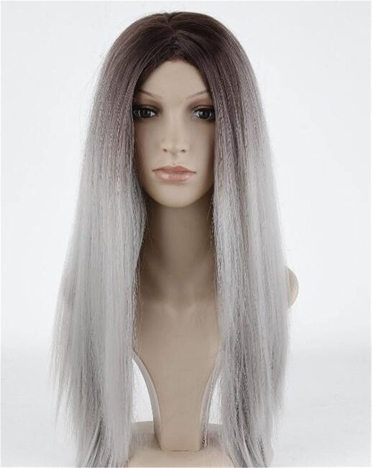 Amazon.com: Worldflying®long Straight Hair Black to Grey Ombre Wig Heat Resistant Fiber Synthetic Cosplay Wigs Peruca Pelucas: Beauty