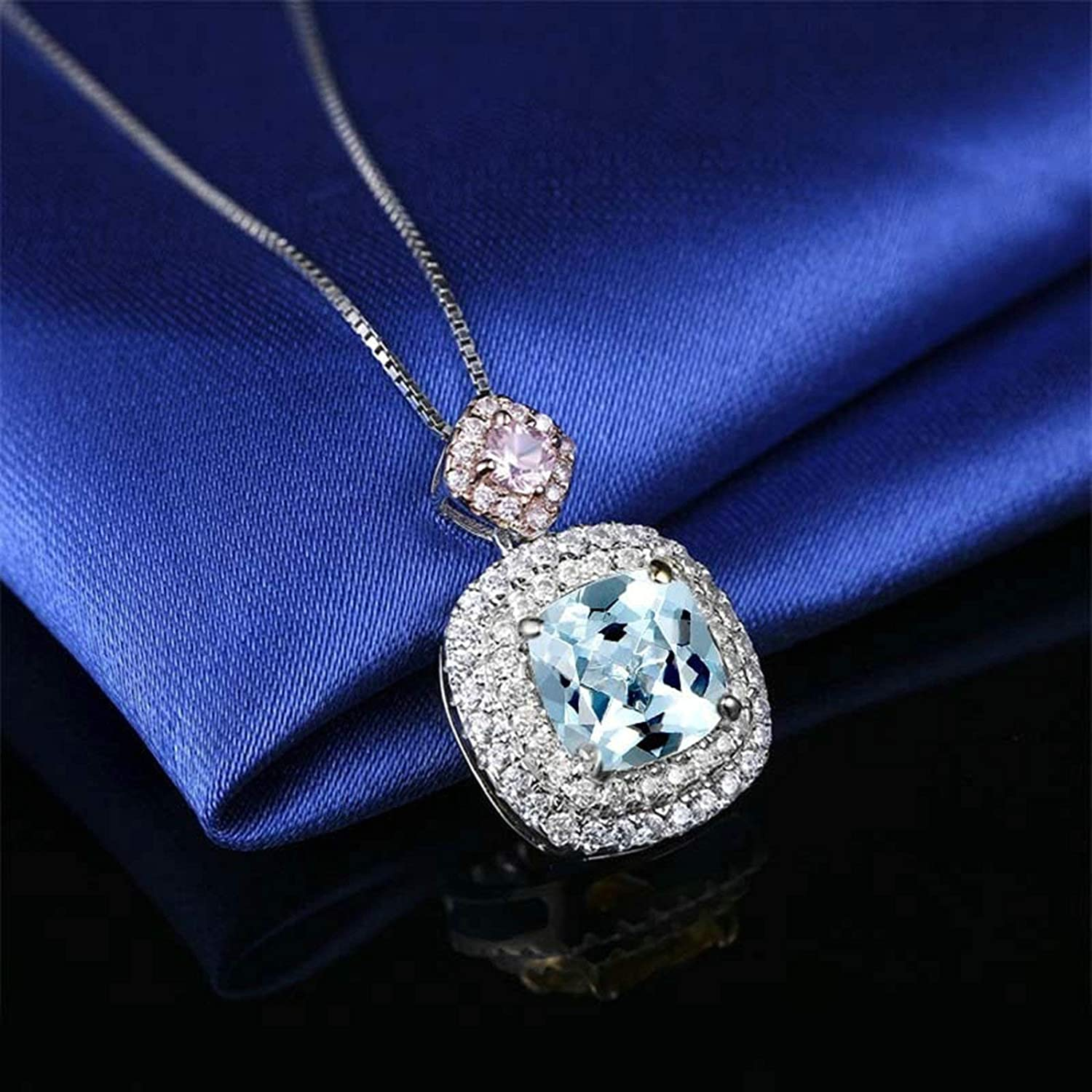 Beydodo 925 Sterling Silver Necklace with Pendant Square Pendant Cushion Topaz Wedding Necklace Pendant