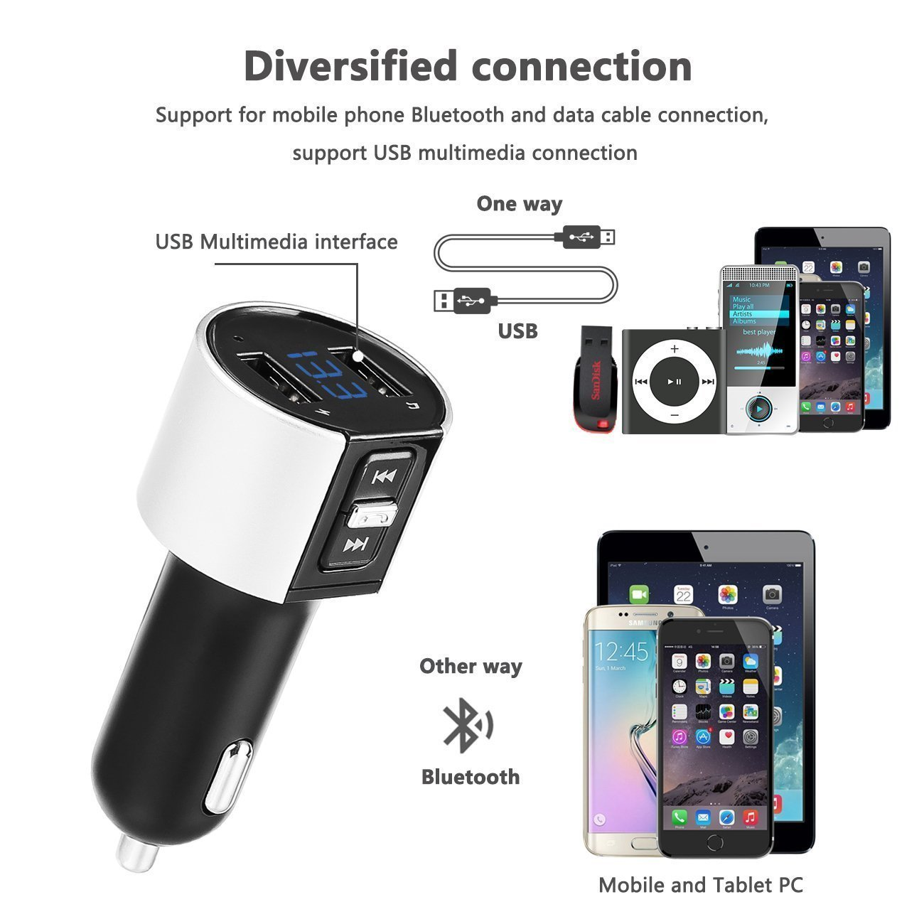 Bluetooth FM Transmitter, Car Charger, Wireless Bluetooth FM Radio Adapter Car Kit FM Transmitter Radio Adapter and MP3 Music Player Control 3.4A Car Charger, Dual USB Ports Charge C26S by Foneda (Image #4)
