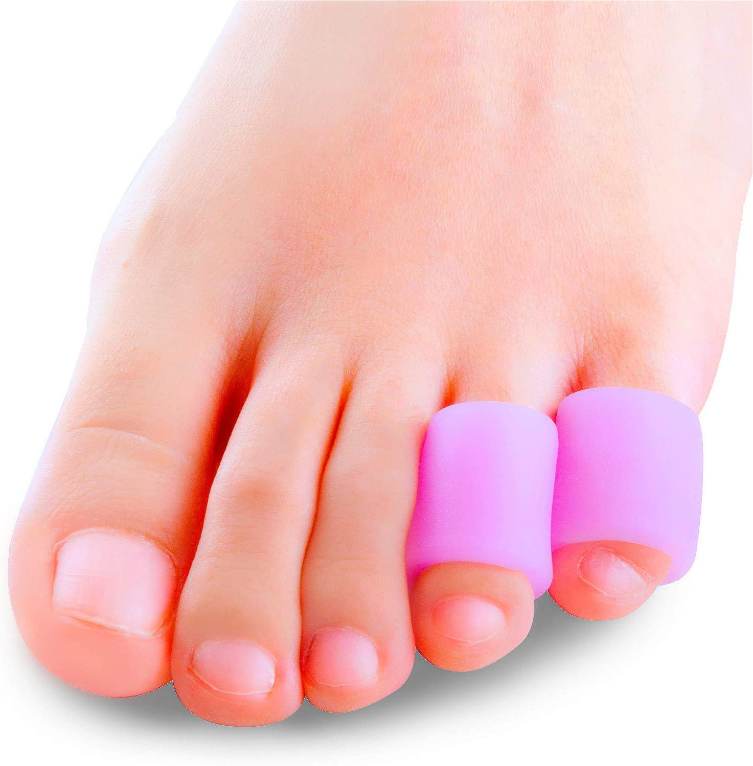 Povihome Toe Protectors, Toe Sleeves Silicone Small Gel Corn Protectors for Runners,Blisters,Shoes,Heels,Sandal Purple Pinky Toe Pain Relief 5 Pairs