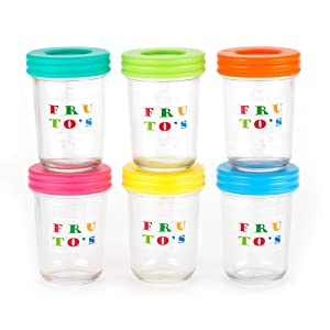 Glass Baby Food Storage Containers - Set Contains 6 Large 8oz Reusable Jars with Regular Mouth Straw Lids Plus Silicone Straws, Airtight Lids - Safely Freeze Your Homemade Baby Food, BPA Free Glass