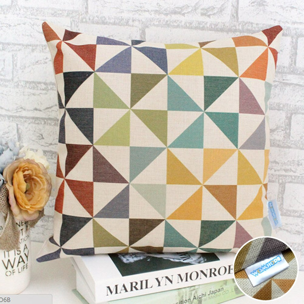 Vintage Style Cotton Linen Square Throw Pillow Case Decorative Cushion Cover Pillowcase Cushion Case for Sofa,Bed,Chair,Auto Seat