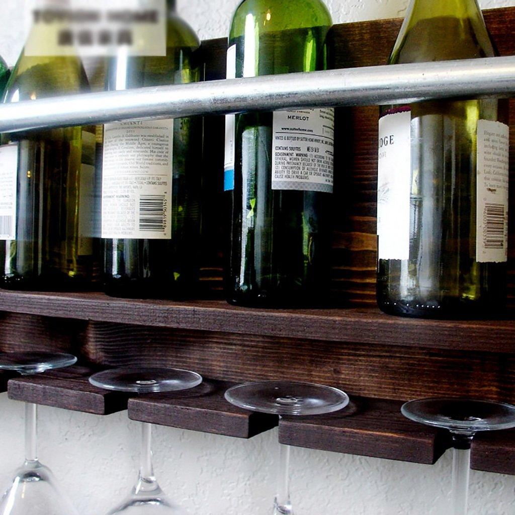 FAFZ-Porta vasos de champán, estante de vino Estante para vino Nordic Retro Madera de pino Madera maciza Soportes de pared Estantes Soporte de alta copa ...