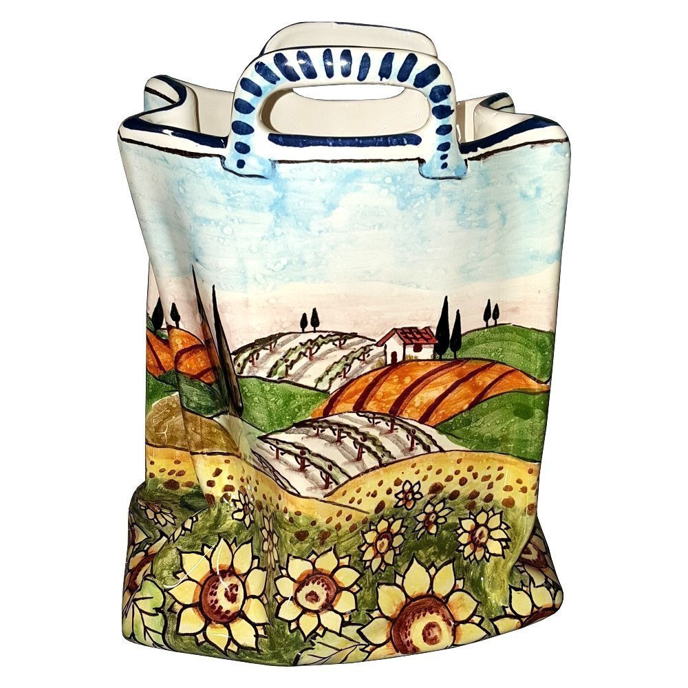 CERAMICHE D'ARTE PARRINI - Italian Ceramic Art Pottery Bag Planter Flowerpot Hand Painted Decorated Sunflowers Landscape Made in ITALY Tuscan by CERAMICHE D'ARTE PARRINI since 1979