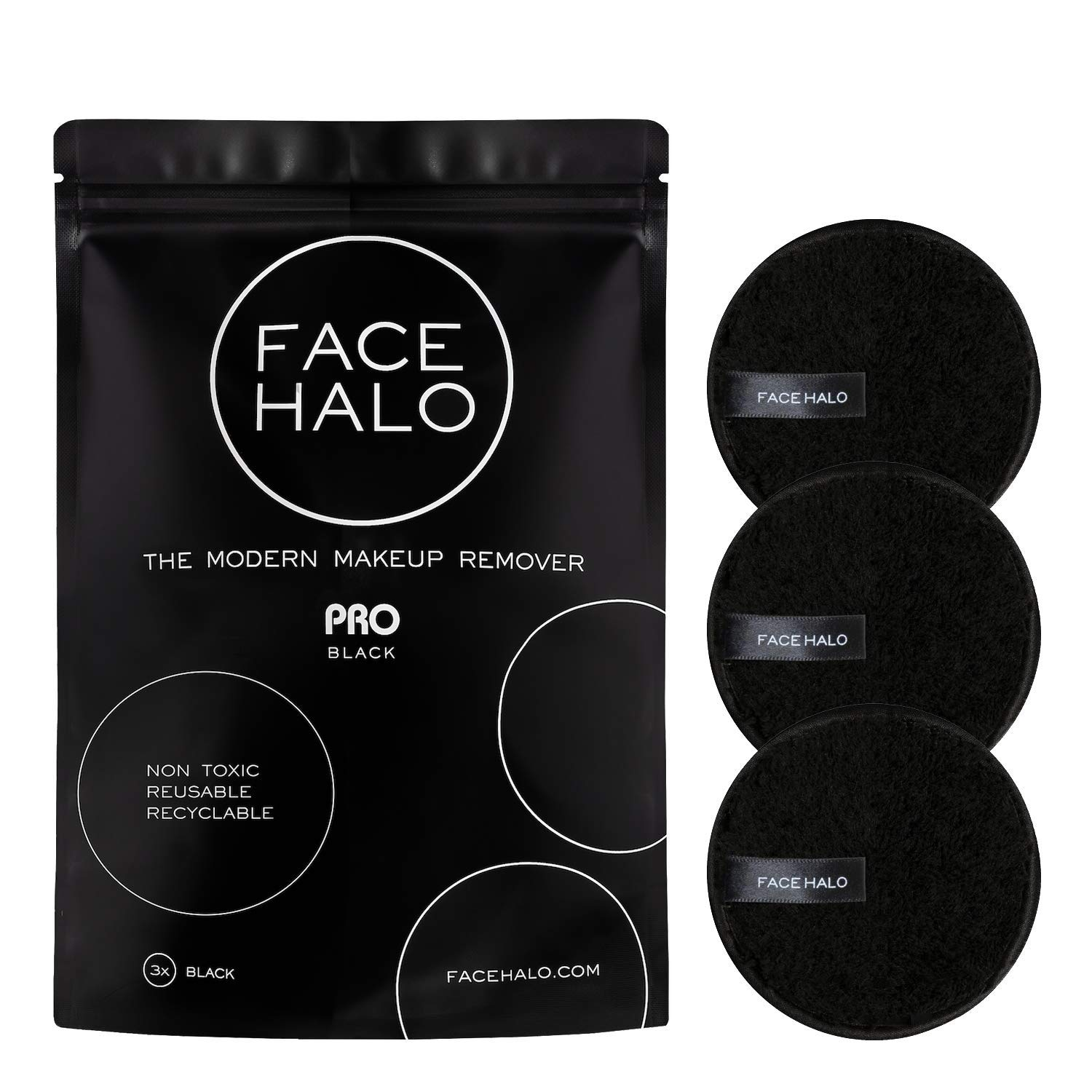 Face Halo | PRO Reusable Makeup Remover Pads, Black Round Makeup Remover Pads for Heavy Makeup & Masks - Microfiber Makeup Remover Wipes for Mascara, Eye Shadow, Lipstick, Foundation (Pack of 3)