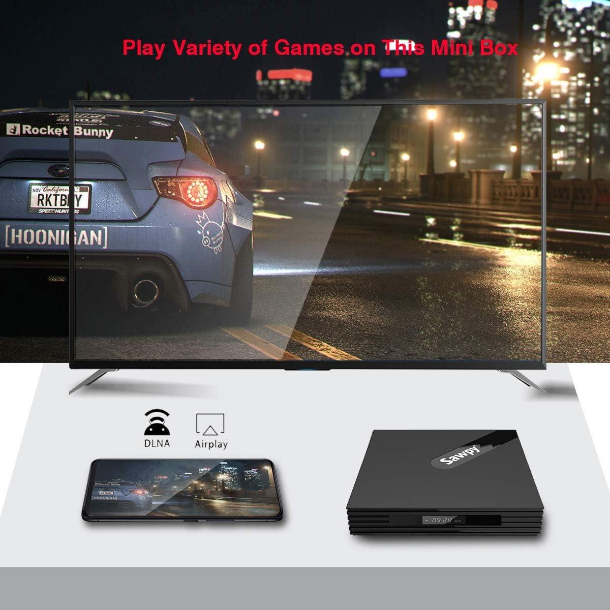 Sawpy A95XF2R Android 9.0 tv Box 2GB ram RK3318 16GB ROM 4K 2.4GHz/&5GHz Dual WiFi Bluetooth 4.2 Smart TV Box 64bit Quad-core Cortex-A53