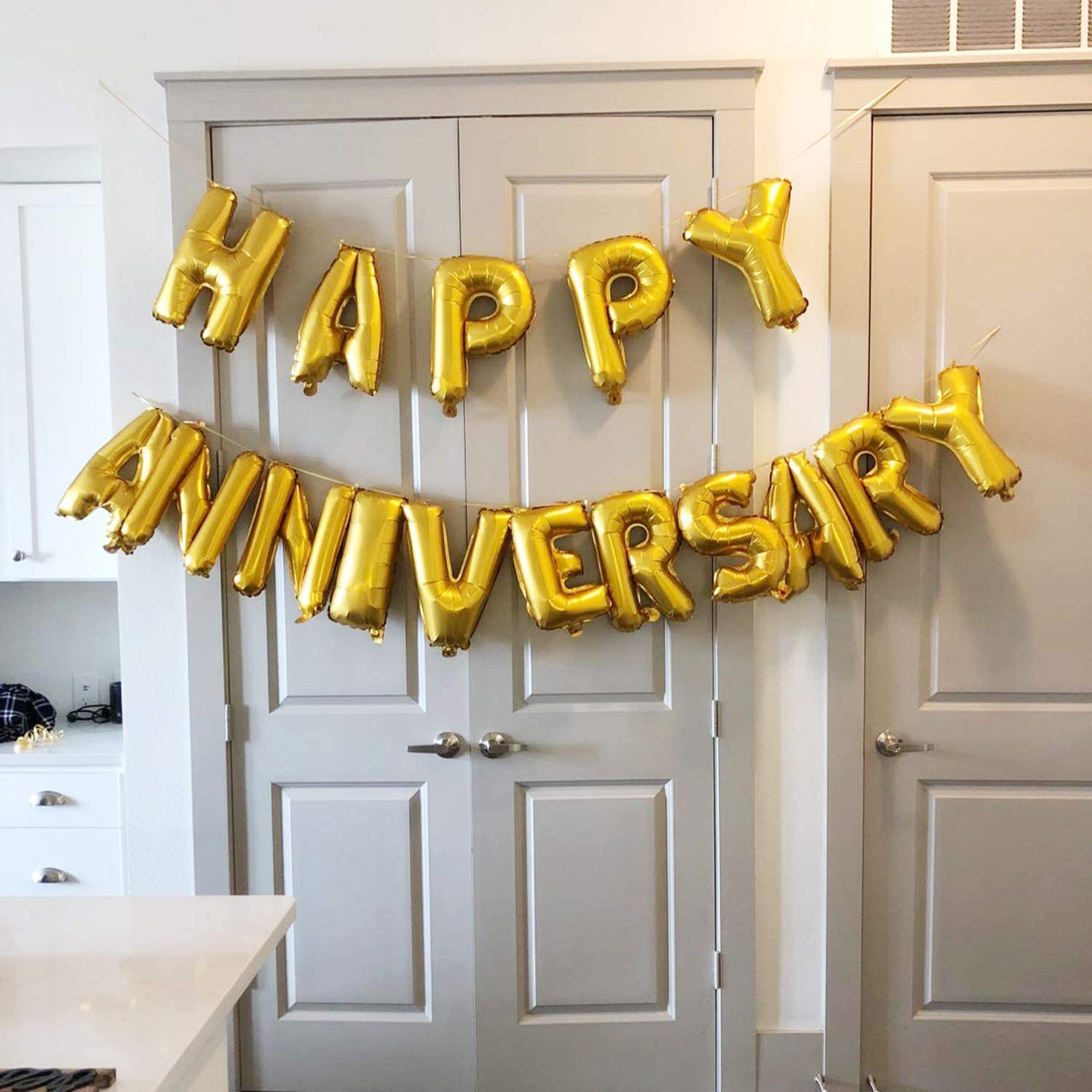 Perfect Party Decoration Supplies for Family Milestone Celebrations and Events TRIXES Happy Anniversary Balloons Gold Foil Letters 16 Inch Large Size