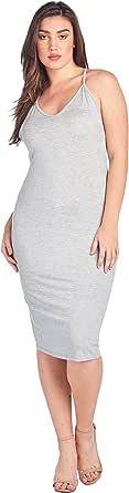 Bubble B Women's Plus Size V-Neck Rayon Solid Midi Dress