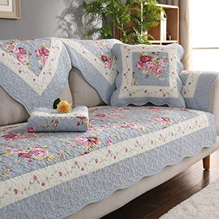 KSWD Funda de Sofá, Estampado Floral Fundas para sofás Algodón Antideslizante Cubre para Sofá,Blue,90x90cm: Amazon.es: Hogar