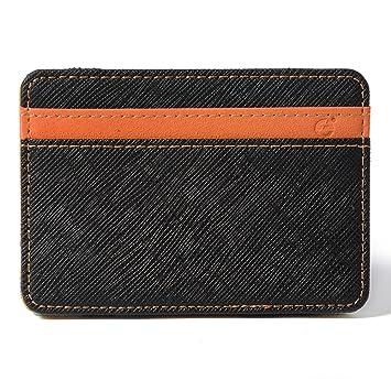 e+Value para mujer para hombre del dinero mágica Monedero Clip Super Slim PU plegable Billetera con 4 ranuras para tarjetas de Crédito verde XC319