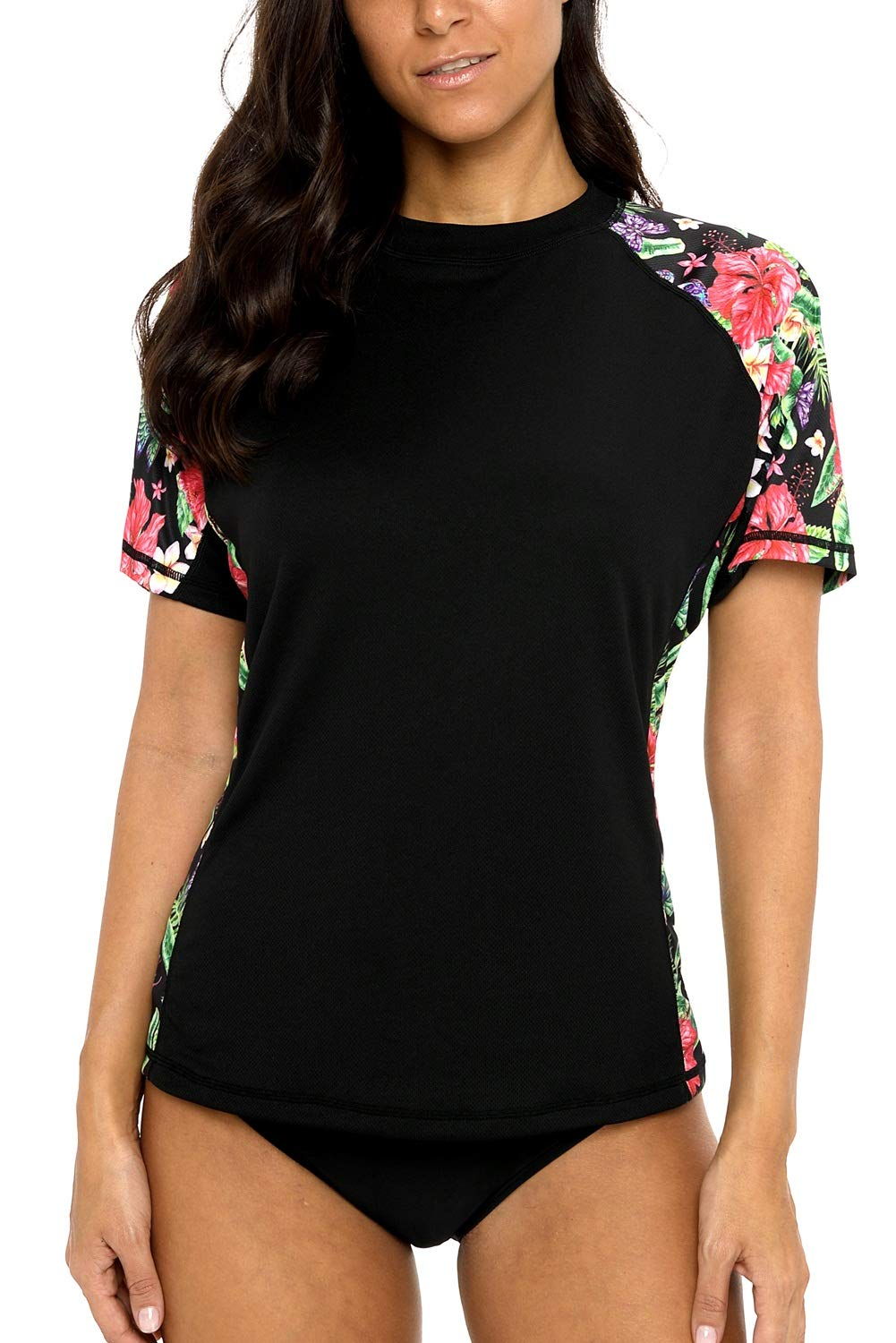 Vegatos Women Blask Swim Shirt Short Raglan Sleeve Rash Guards Floral Swimwear