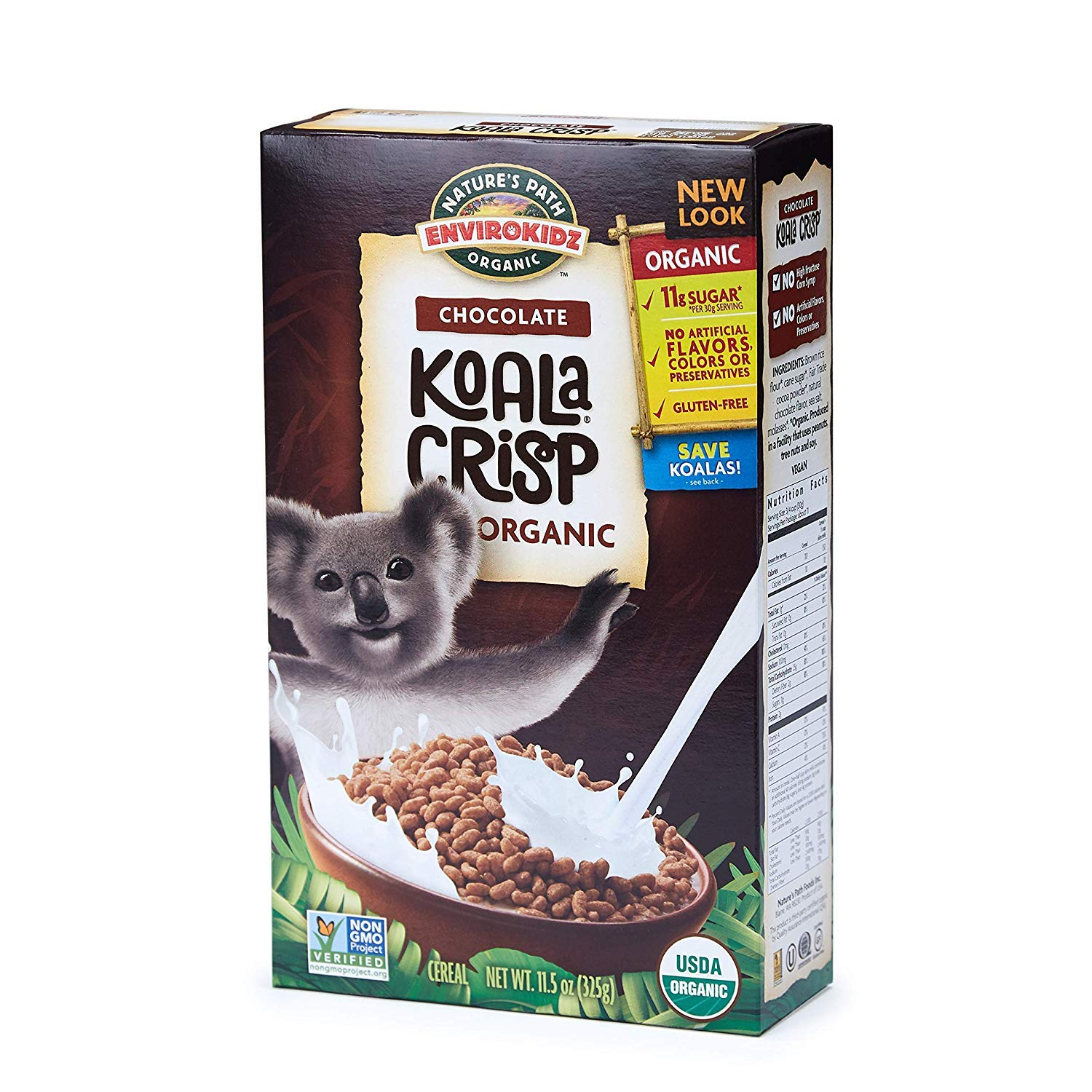 Nature's Path EnviroKidz Koala Crisp Chocolate Cereal, Healthy, Organic, Gluten-Free, 11.5 Ounce Box