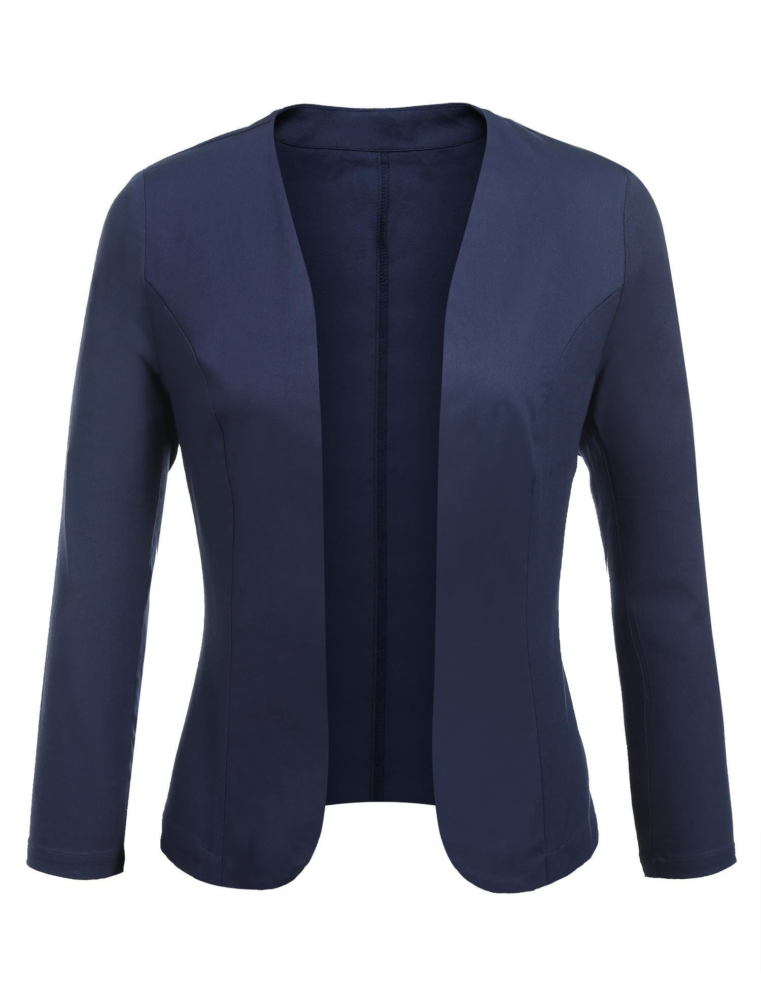 Concep Women's Cropped Blazer Casual Work Office Jacket Lightweight Slim Fit Blazers (Navy Blue, L)