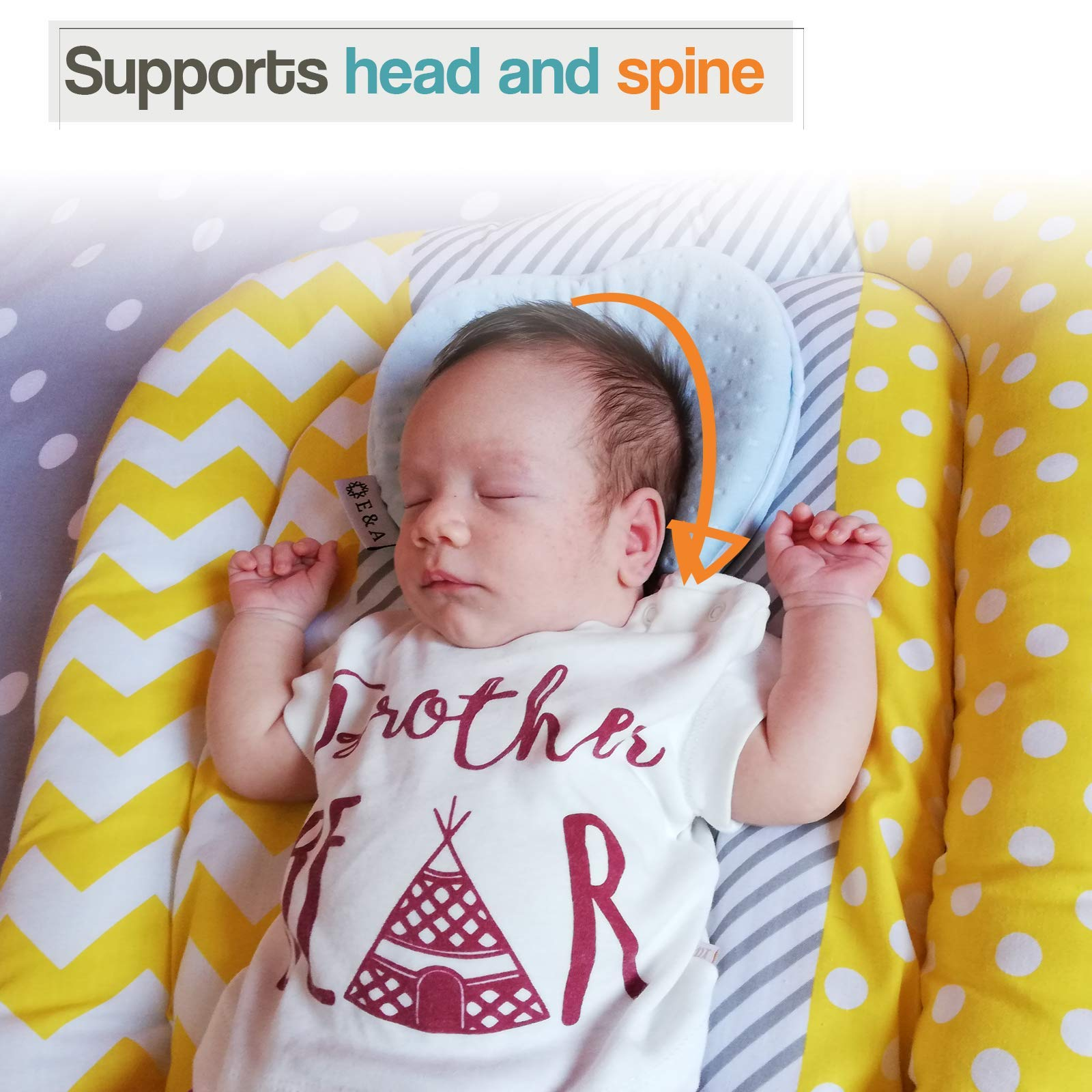Blue or Pink Head Shaping for Infant Cute Breathable and Soft Cover Peacefuly Sleep for Newborn E-A Baby Pillow Preventing Flat Head Syndrome