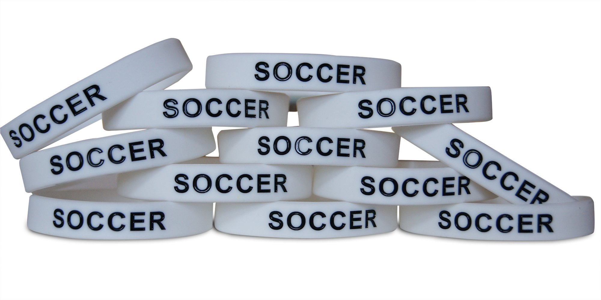 Novel Merk 12-Piece Black Text White Soccer Kids Party Favor & School Carnival Prize Sports Silicone Wristband Bracelet