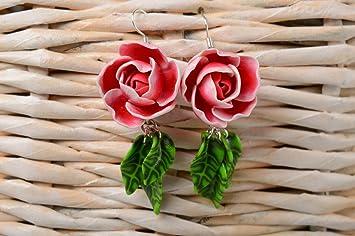 21896d0efd3b Pendientes con flores de arcilla polimerica aretes de moda bisuteria de  mujer  Amazon.es  Hogar