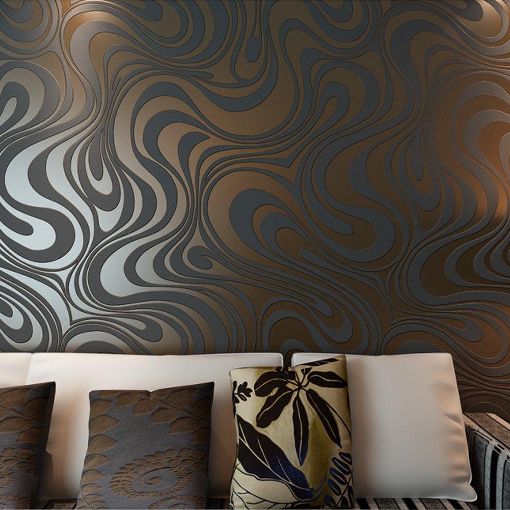 Hanmero Modern Minimalist Abstract Curves Glitter Non-woven 3D ...
