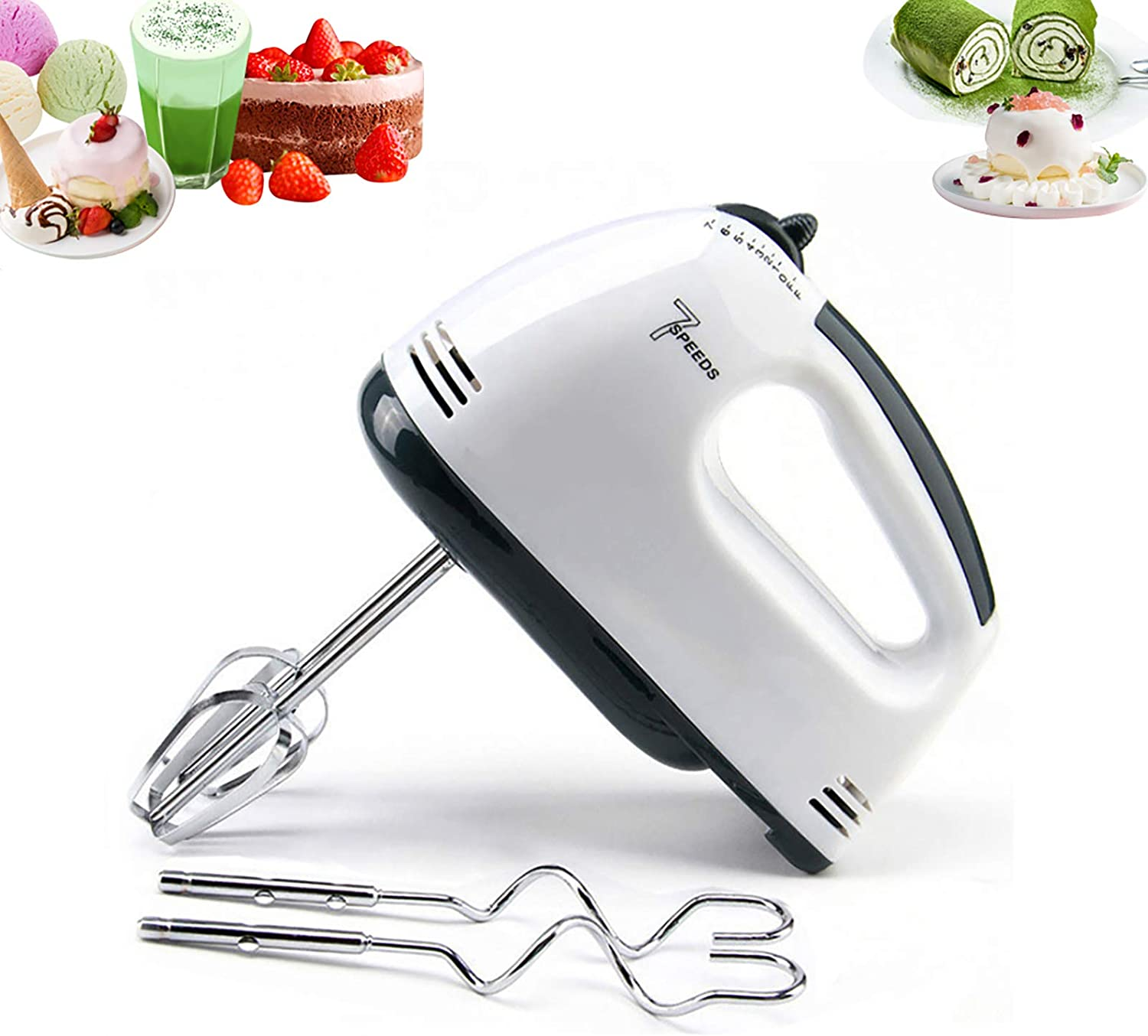 Hand Mixer Electric,7 Speed Portable Kitchen Hand Held Mixer,Immersion Blender Whisk for Food Whipping,Egg Whisk,Cake Mixer,Milk Frother,Bread Maker,Beater