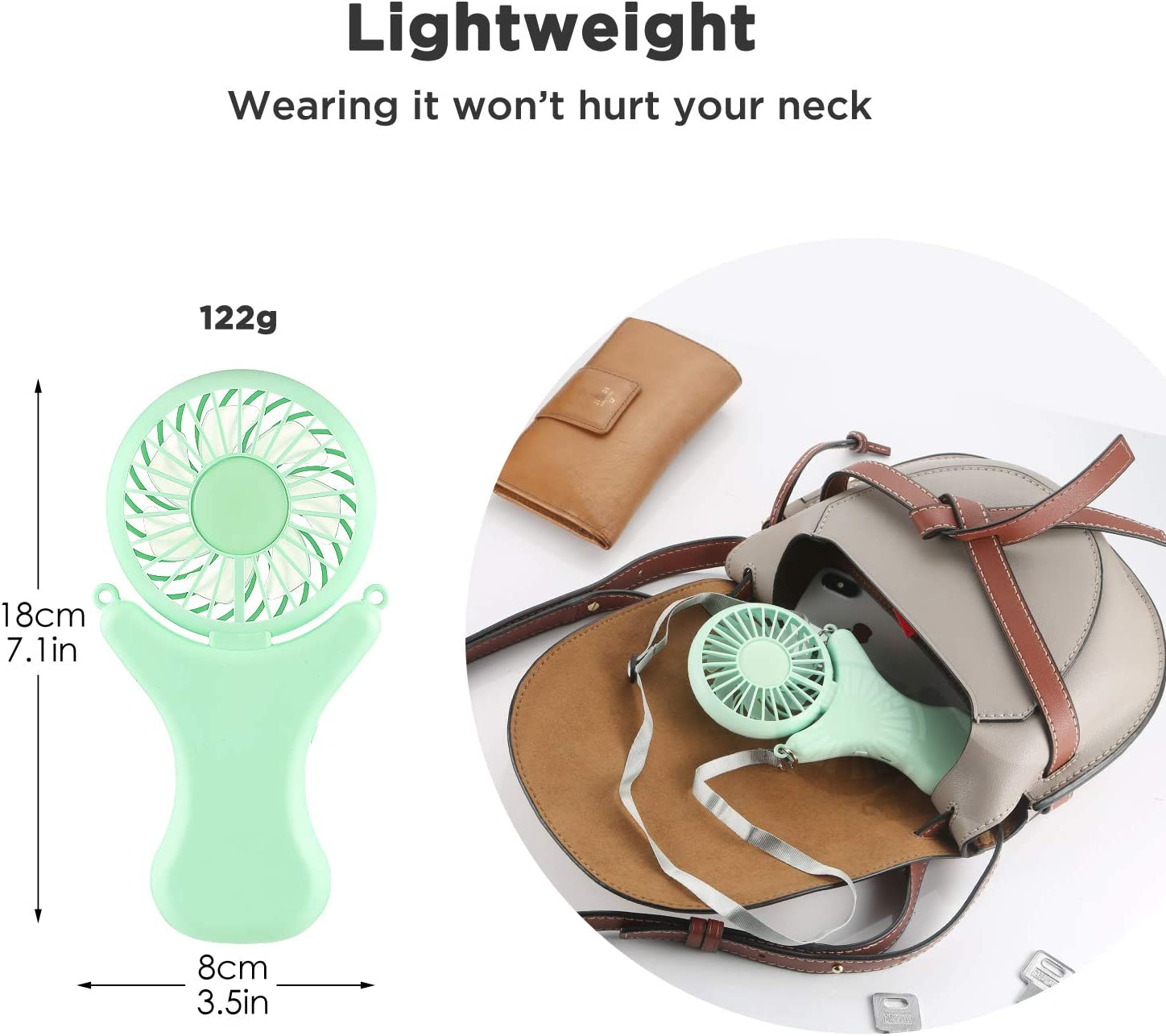 OUTXE Necklace Fan 108/° Rotating Free Adjustment Black,2000mAh Travel Handheld Fan for Outdoor Event Mini Portable USB Personal Fan 3 Setting Cooling Folding Electric Fan Rechargeable Battery